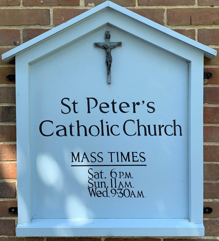 St Peter's Catholic Church Sign, Blakeney